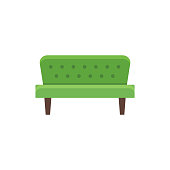 Green futon. Vector illustration. Flat icon of sofa. Front view.