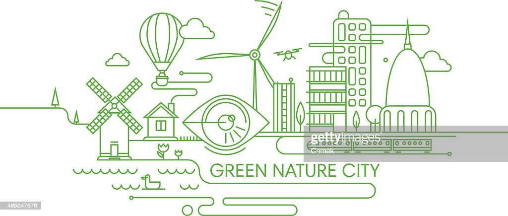 Green future city illustration.