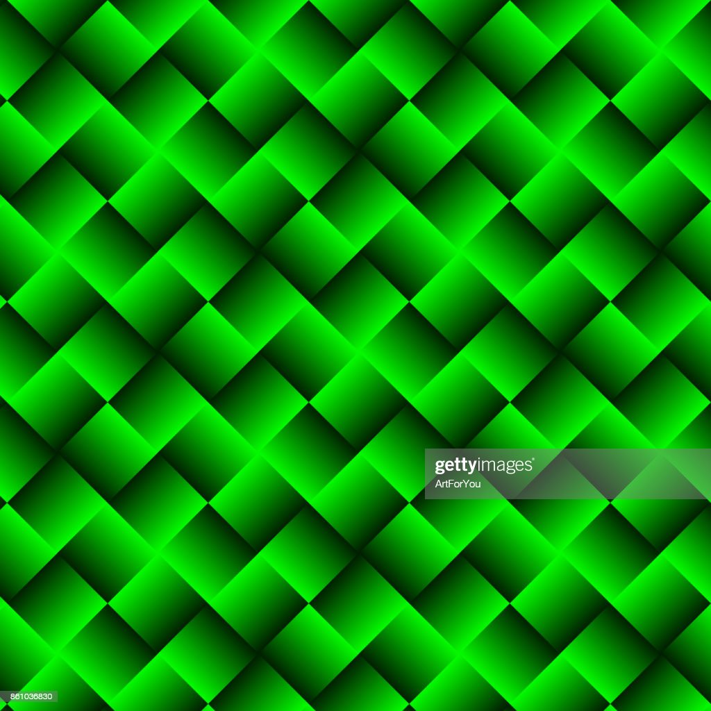 Green Geometric Background with Squares - Abstract Wallpaper