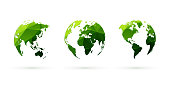 green geometric globes vector set world planet earth