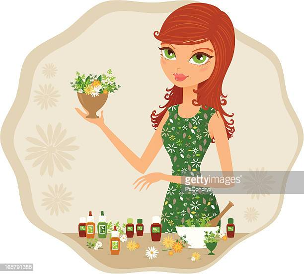 green girl herborist - aromatherapy stock illustrations, clip art, cartoons, & icons
