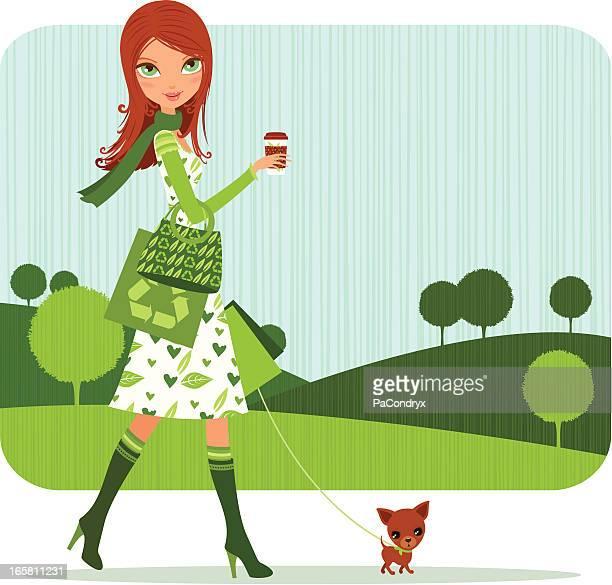 illustrations, cliparts, dessins animés et icônes de green fille shopping avec un café douillet - femme bcbg