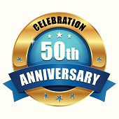 Green gold fifty year anniversary button