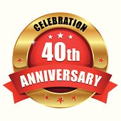 Green gold forty year anniversary button