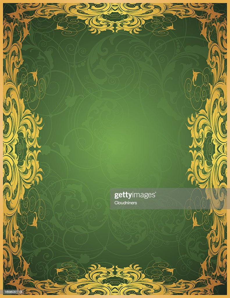 Green Gold Scrolling Frame Vector Art Getty Images