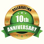 Green gold ten year anniversary button