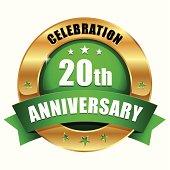 Green gold twenty year anniversary button