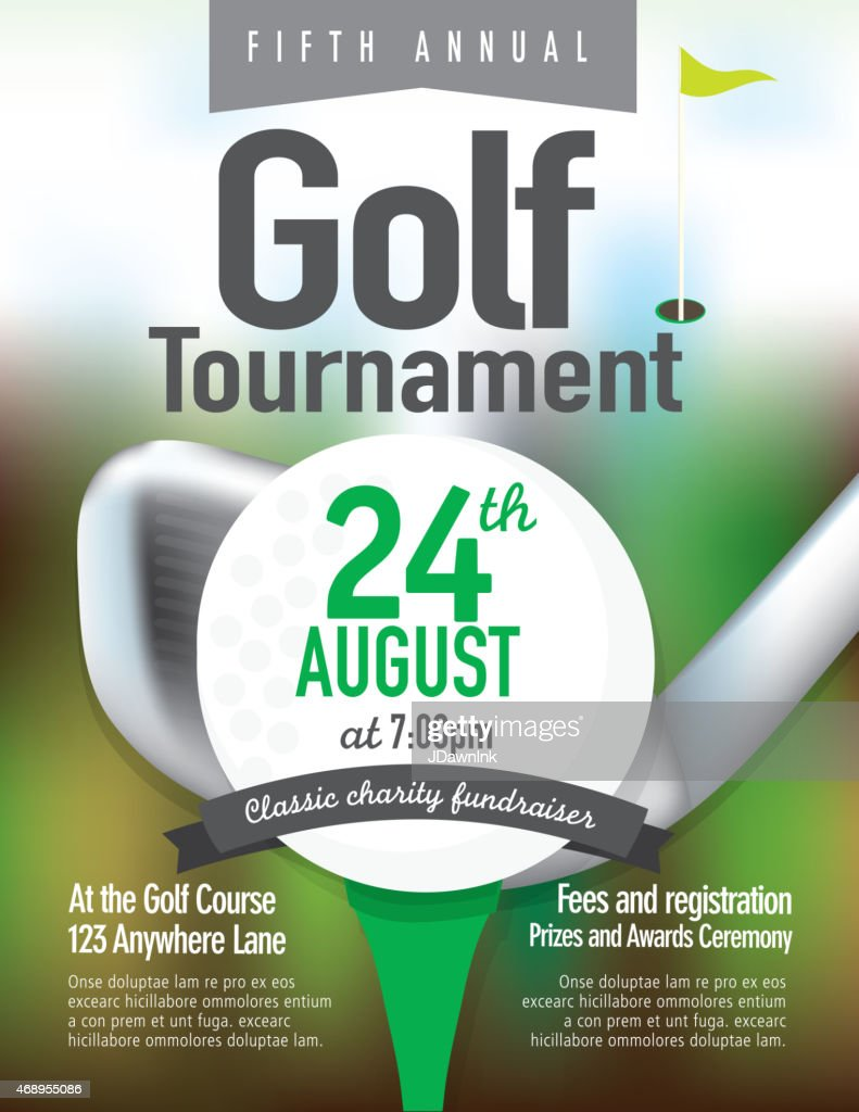 green golf tournament invitation design template on bokeh
