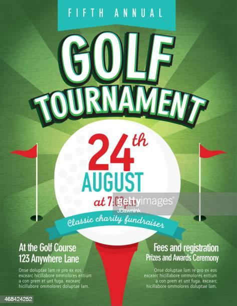 Green Golf tournament invitation design template on sunburst