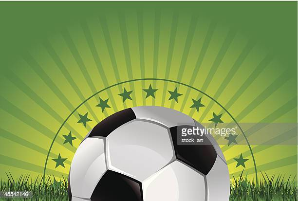 green gradient banner with soccer ball and high detailed grass