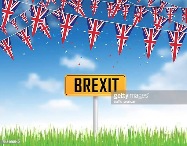 Gazon vert, ciel bleu et drapeau du Royaume-Uni