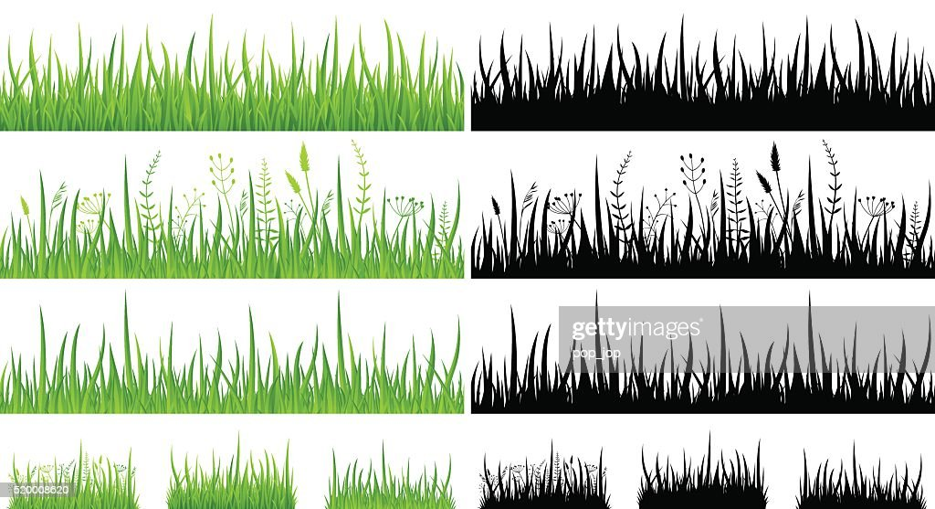Green Grass - Seamless Pattern and Silhouettes - Illustration : stock illustration