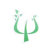 green greek letter psi with leaf
