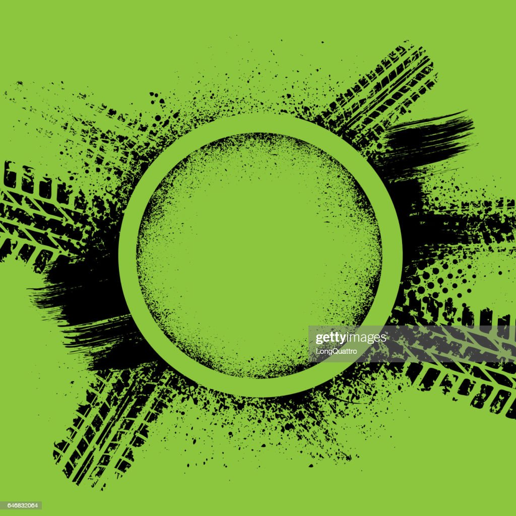 Green grunge tire track background
