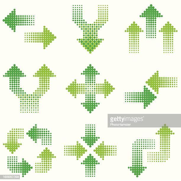 Setas Verde em Meios-tons