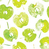 Green halved apples painted watercolor, textured prints.