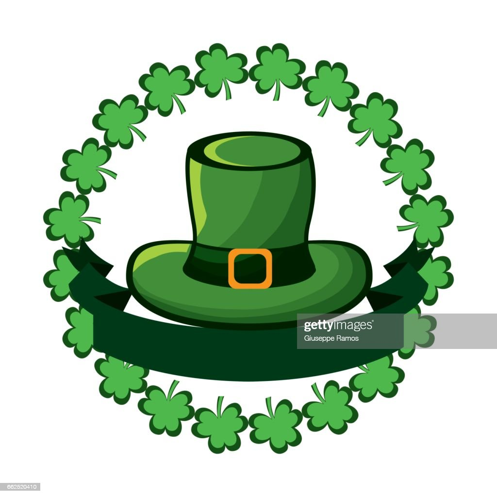 green hat accessory st patrick with clovers and ribbon