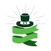 green hat st patrick with ribbon decoration