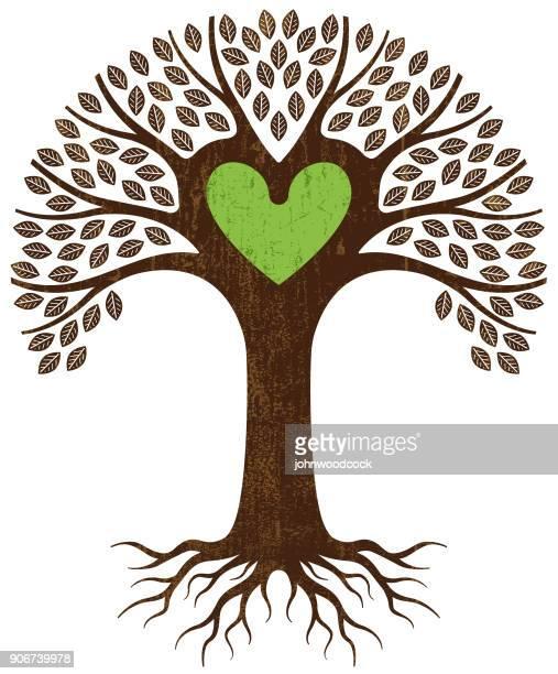 green heart tree illustration - tree trunk stock illustrations, clip art, cartoons, & icons