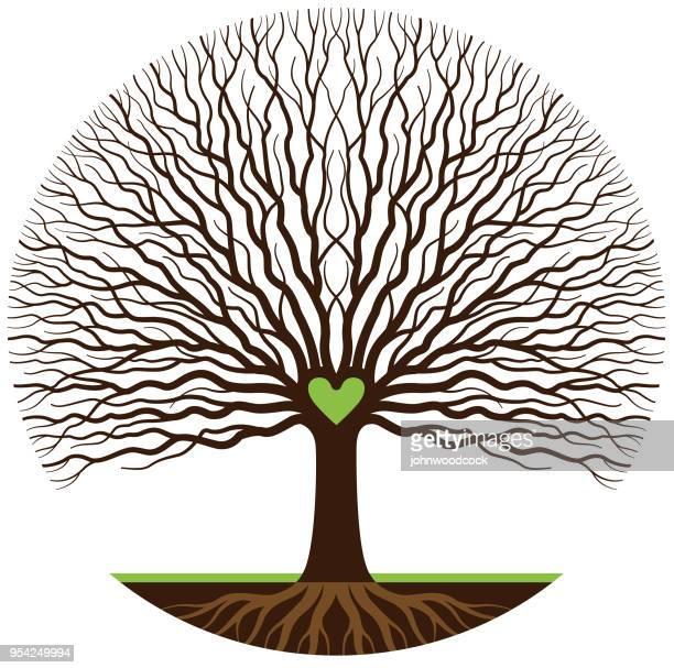 green heart tree illustration - ancestry stock illustrations, clip art, cartoons, & icons