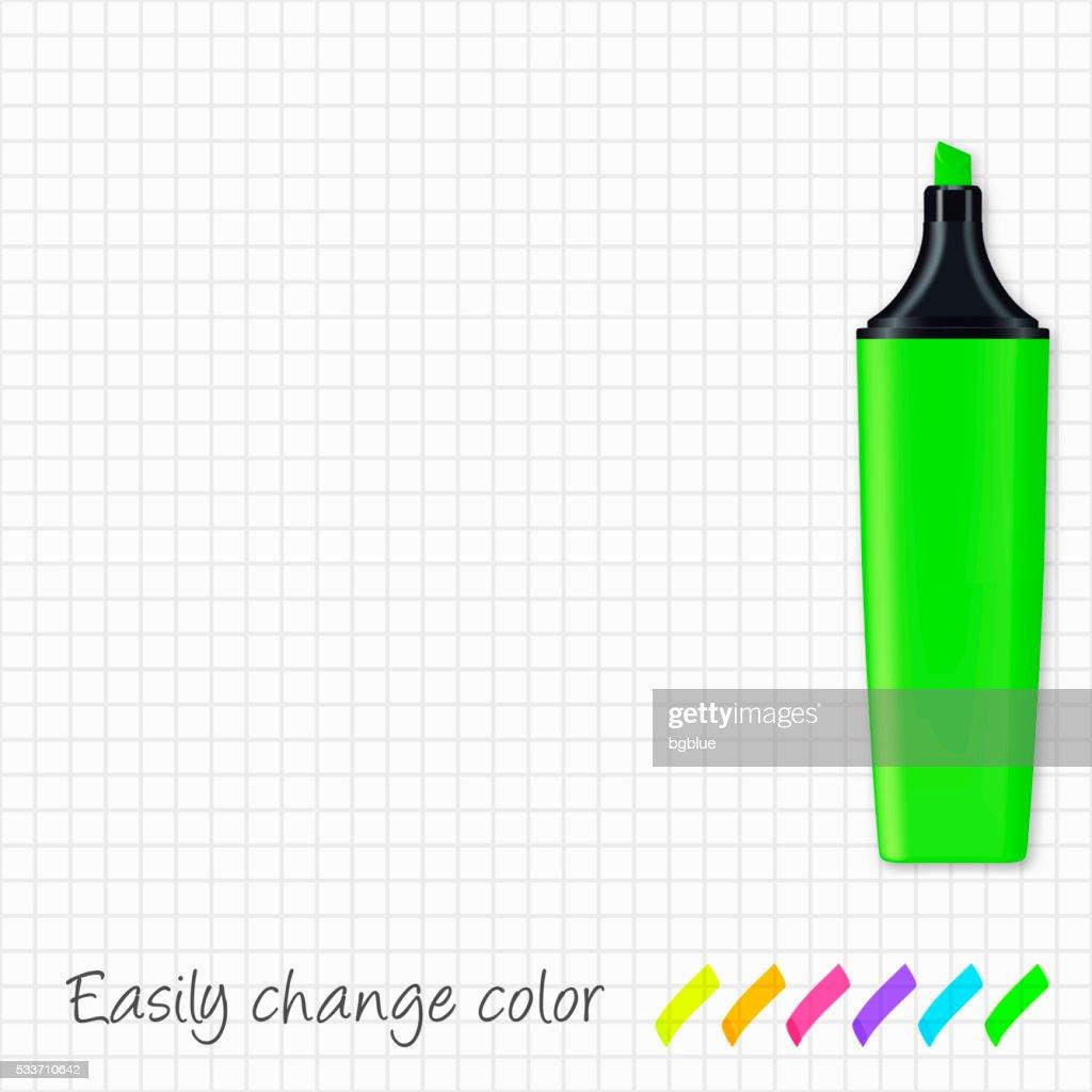 Evidenziatore verde isolato su carta con griglia : Illustrazione stock