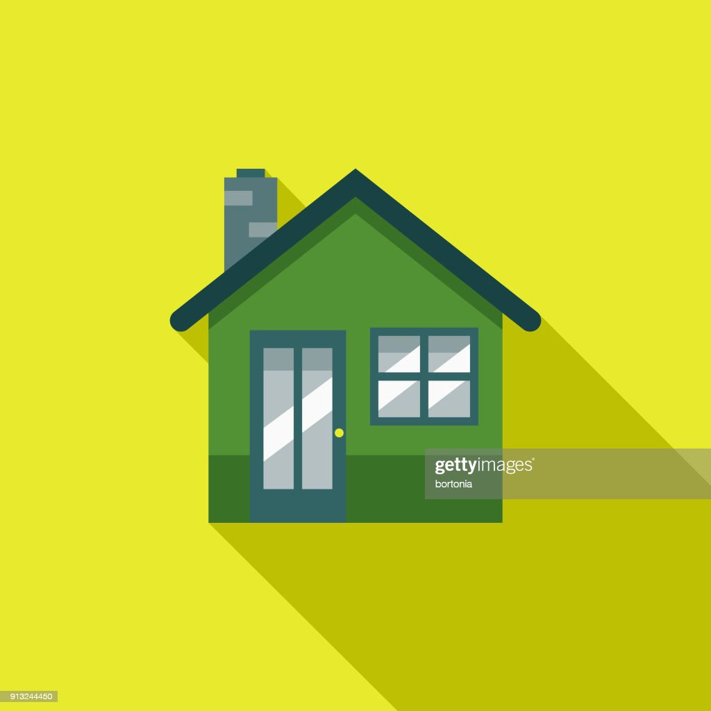 Green Home Flat Design Environmental Icon : stock illustration