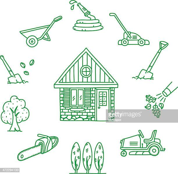 green home icons - leaf blower stock illustrations