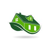 Green House Eco Friendly Leaf Vector Illustration