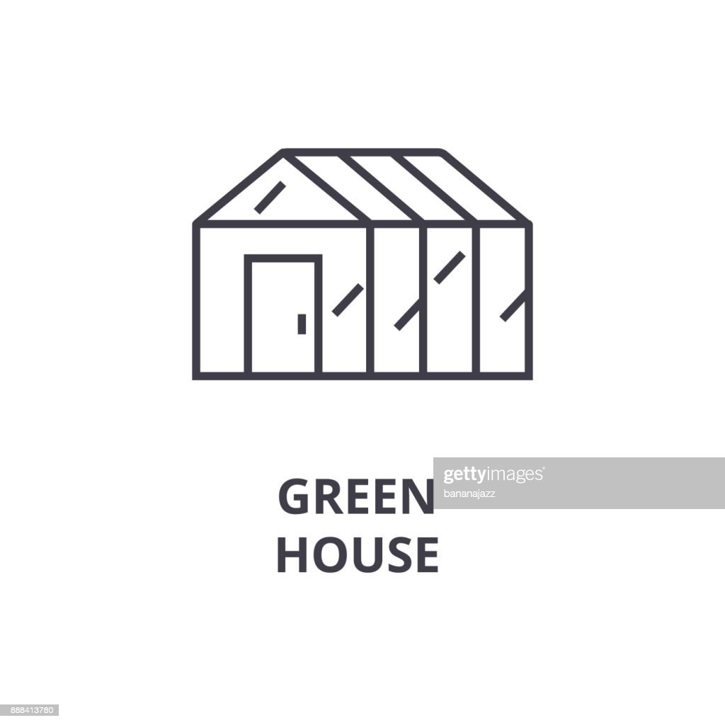 green house line icon, outline sign, linear symbol, vector, flat illustration