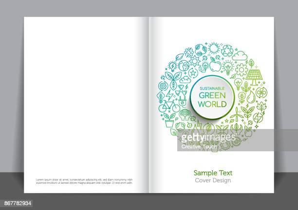 stockillustraties, clipart, cartoons en iconen met groen pictogram cover ontwerp - levensstijl