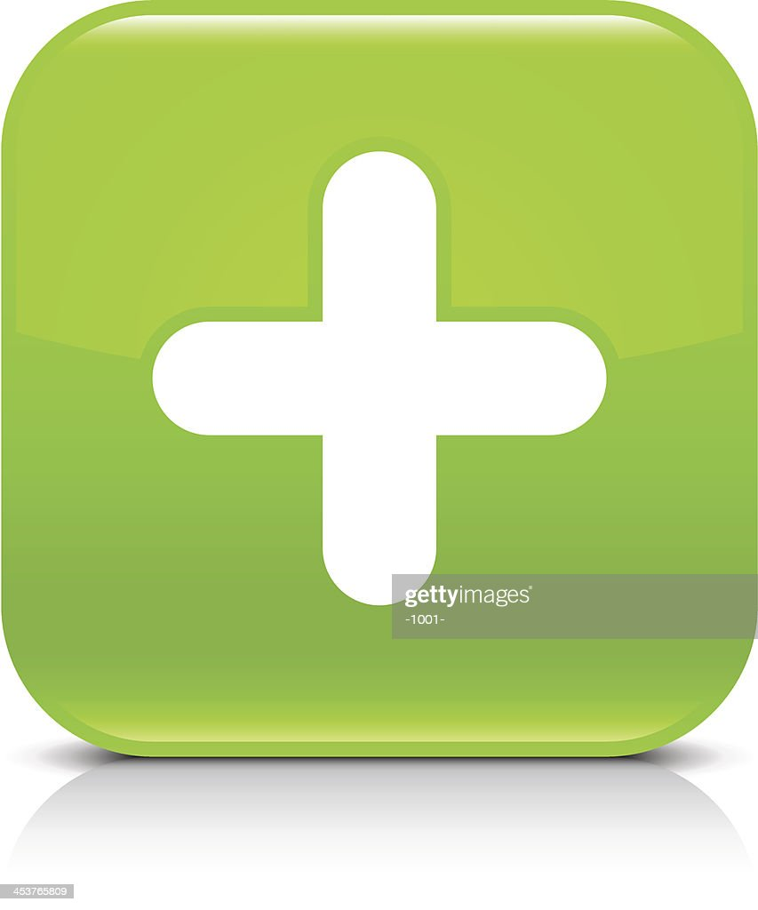 Green icon plus sign glossy rounded square web button
