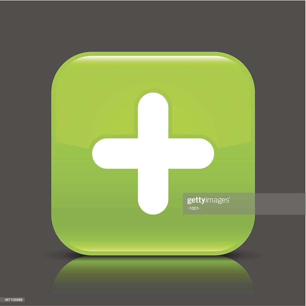 Green icon plus sign glossy square web button