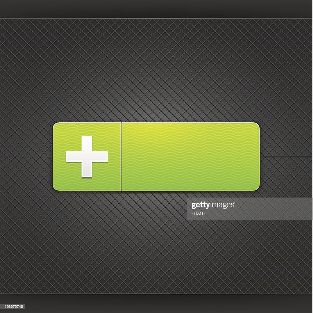 Green icon with white plus sign web internet addition button