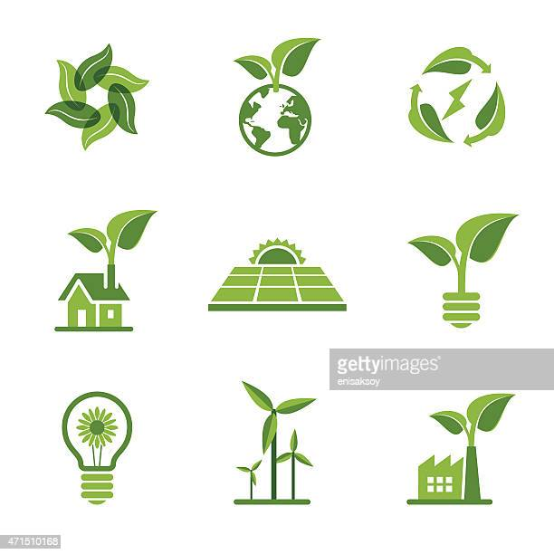green icons - energy efficient stock illustrations, clip art, cartoons, & icons
