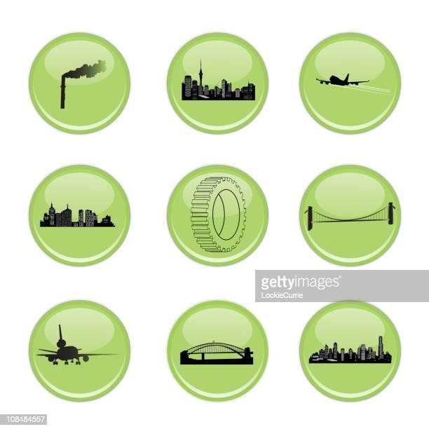 ilustraciones, imágenes clip art, dibujos animados e iconos de stock de verde industrial iconos - puente colgante