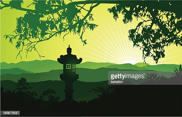 green japanese landscape with lantern - looking at view stock illustrations