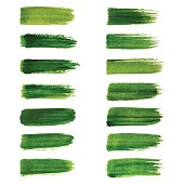 Green labels. Green watercolor brush