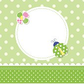 green ladybug baby boy greeting card