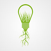 Green lamp ecology concept.