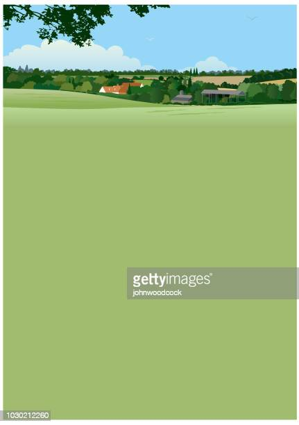 green landscape illustration - rolling landscape stock illustrations