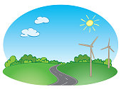 green landscape with road and blue sky and wind turbines - vector illustration