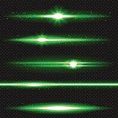 Green laser beams pack