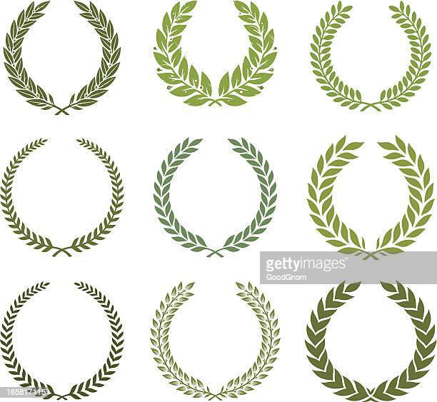 green laurel wreath set - the olympic games stock illustrations