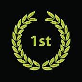 green laurel wreath vector symbol victory eps10