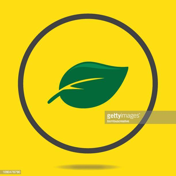 green leaf icon - mint leaf culinary stock illustrations, clip art, cartoons, & icons
