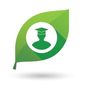 Green leaf icon with a student avatar