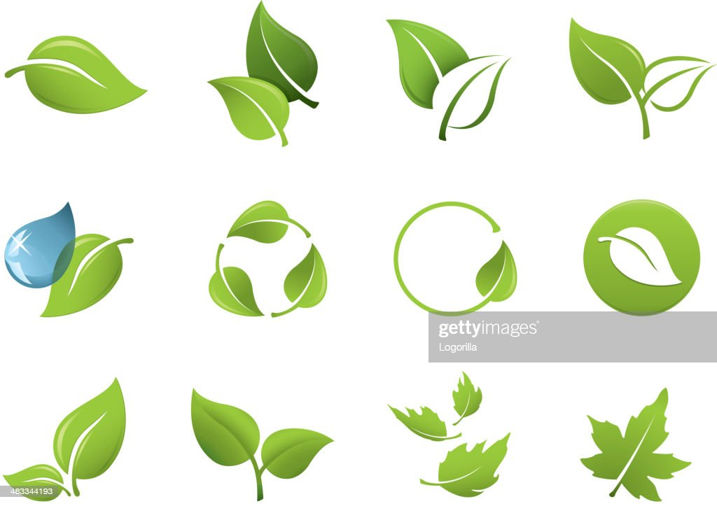 Icone di foglia verde : Illustrazione stock