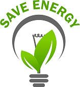 Green leaf light lamp bulb save energy vector icon