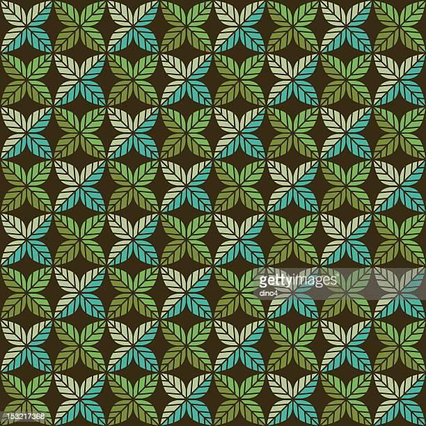 グリーンリーフ柄(スムーズ - リーフ柄点のイラスト素材/クリップアート素材/マンガ素材/アイコン素材