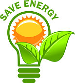 Green leaf sung and lamp save energy vector icon